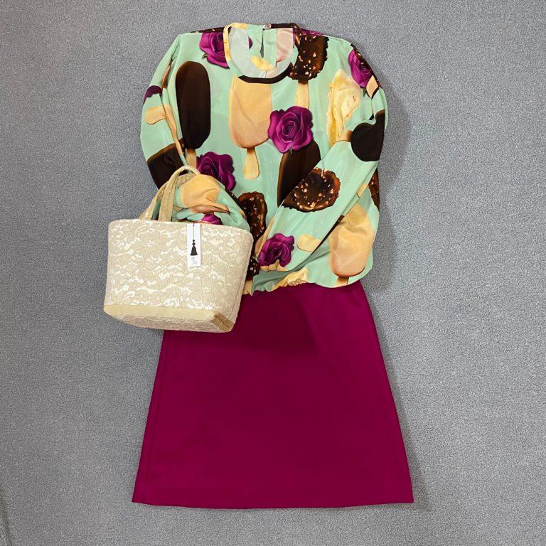オーダーメイド服 花明ブランド イタリア製高級シルクブラウスアイス薔薇柄 無地ウールピンク台形スカート 高級イタリアンレーストートバッグベージュ色