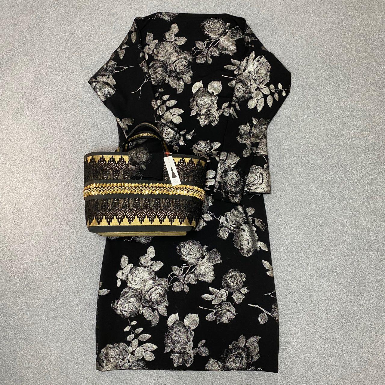 黒バラ柄 スカートセットアップ